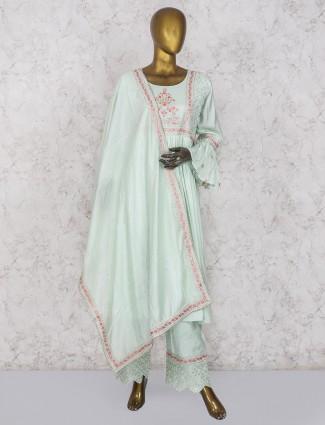 Pista green cotton silk party wear punjabi suit