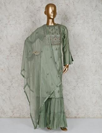 Pista green cotton silk quarter sleeves sharara suit