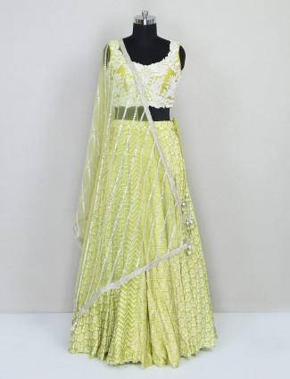 Pista green cotton silk wedding wear lehenga choli