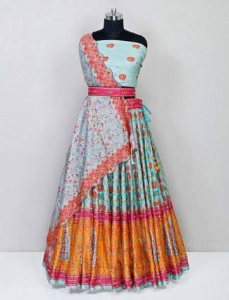 Pista green designer raw silk wedding lehenga