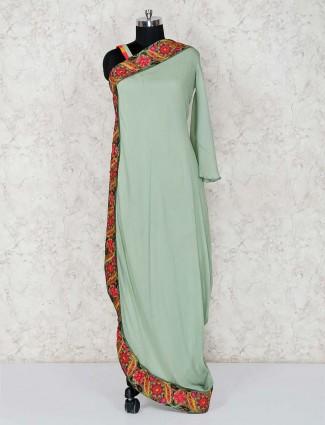 Pista green designer salwar kameez in cotton silk