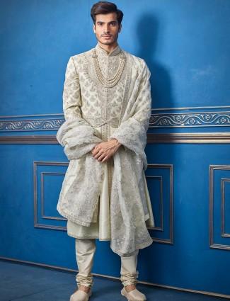 Pista green designer silk groom sherwani
