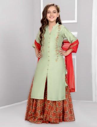 Pista green festive cotton silk punjabi sharara suit