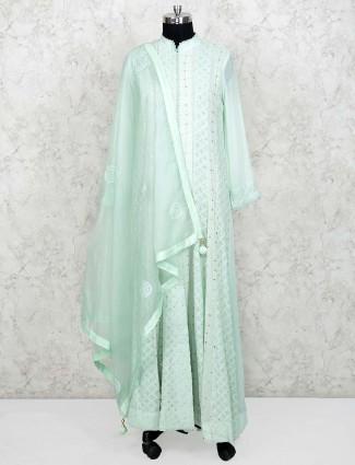 Pista green festive wear georgette floor length anarkali salwar suit