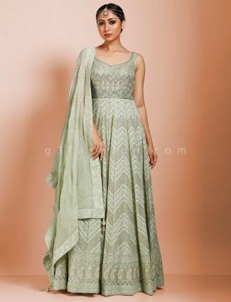 Pista green georgette exclusive floor length anarkali salwar suit