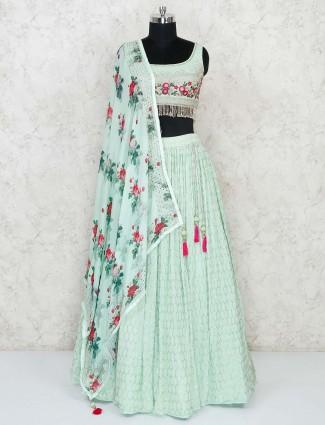 Pista green georgette fabric designer lehenga choli