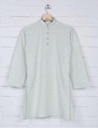 Pista green georgette fabric kurta suit