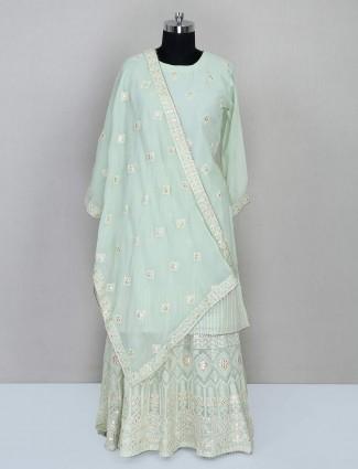 Pista green georgette wedding wear salwar kameez