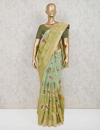 Pista green handloom cotton silk saree for reception