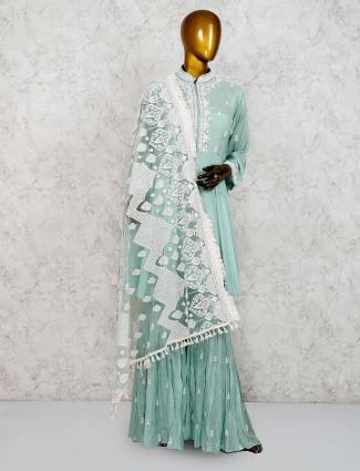 Pista green hue punjabi sharara suit in cotton silk