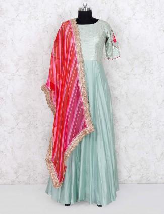 Pista green hued cotton silk fabric anarkali salwar suit