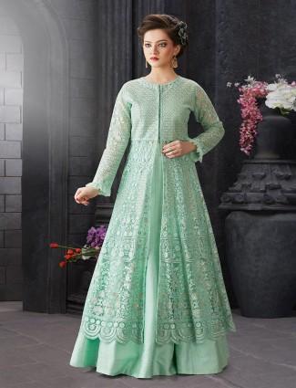 Pista green indo western style net lehenga choli