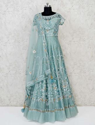 Pista green net party wear designer gown