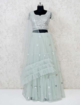 Pista green net wedding lehenga choli
