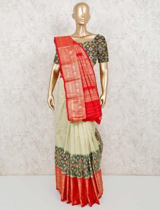 Pista green patola silk wedding saree