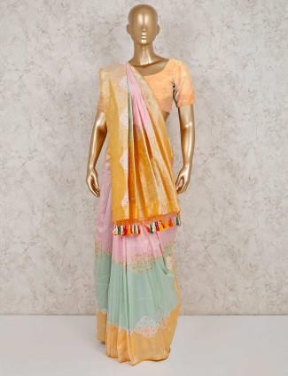 Pista green pink designer banarasi silk saree