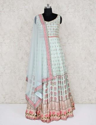 Pista green printed anarkali salwar kameez in cotton silk