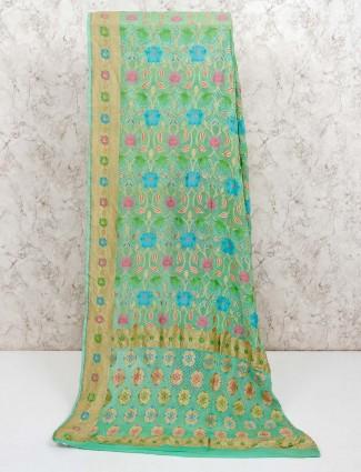 Pista green pure banarasi silk saree for wedding
