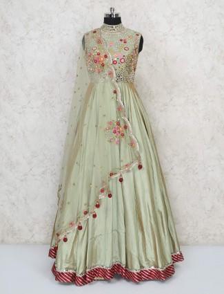 Pista green raw silk wedding gown