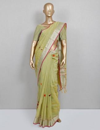 Pista green saree for a festive session