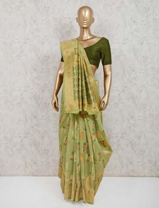 Pista green saree in handloom cotton silk
