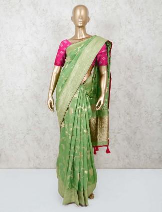 Pista green semi munga silk saree for festivals