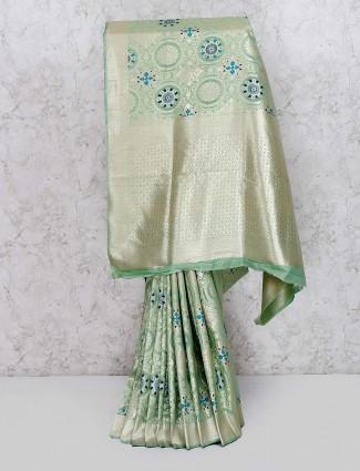Pista green semi silk wedding saree