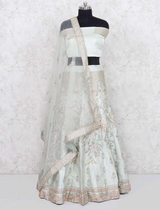 Pista green silk fabric semi stitched lehenga choli