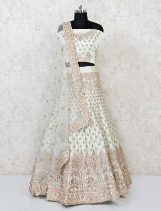 Pista green silk semi designer stitched lehenga choli