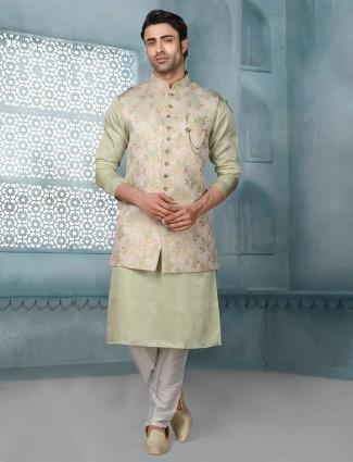 Pista green waistcoat set in raw silk
