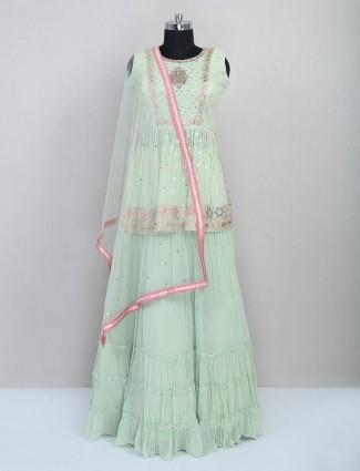 Pista green wedding wear georgette lehenga choli
