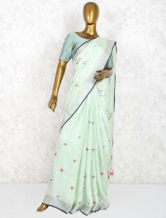 Pista green wonderful saree in linen