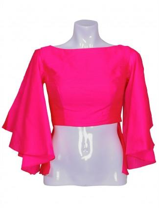 Plain magenta raw silk ready made blouse