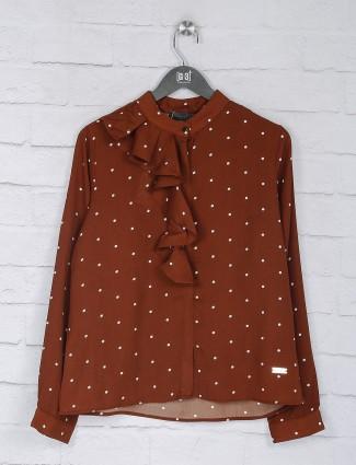 Polka dot rust orange georgette top