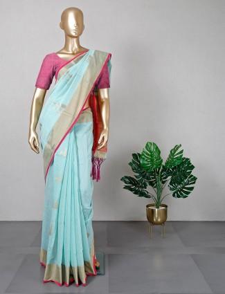 Powder blue handloom cotton festive saree