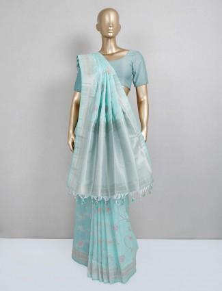 Powder blue semi silk festive wear saree