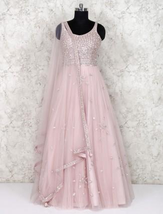Powder pink net floor length anarkali salwar suit