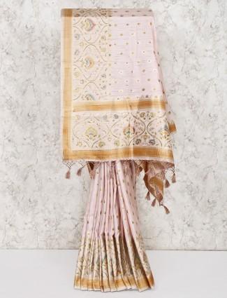 Powder pink saree in silk