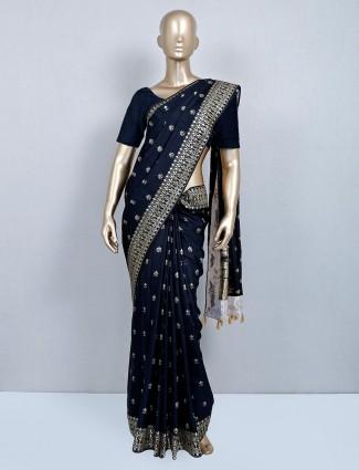 Precious dola silk festive saree in black
