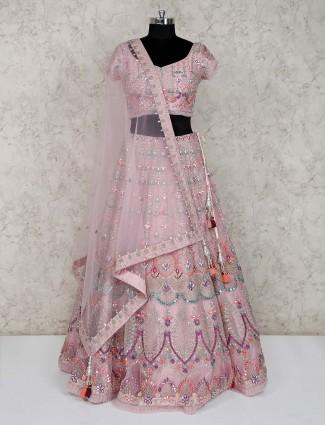 Premium pink net wedding wear lehenga choli