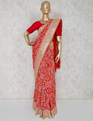 Premium red bandhej designer saree