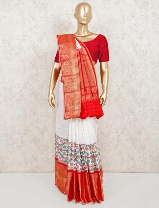 Premium white patola silk saree