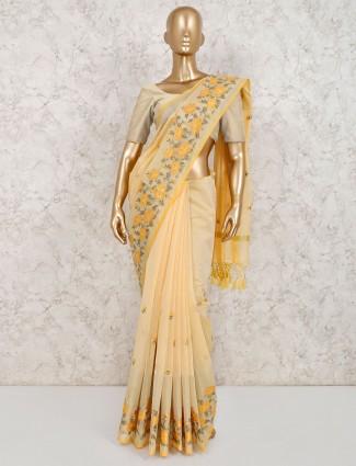 Prettiest lime yellow cotton saree