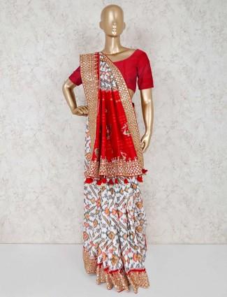 Prettiest white patola silk wedding saree