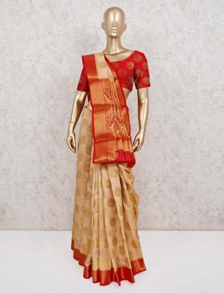Pretty beige saree in semi cotton silk