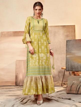 Pretty green printed cotton silk kurti