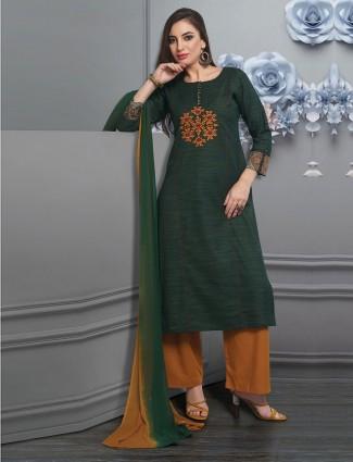 Pretty green punjabi palazzo suit in cotton