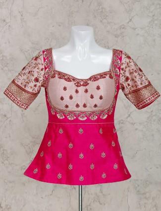 漂亮的洋红色设计师生丝现成的上衣