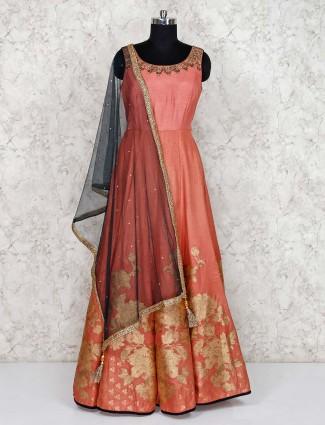 Pretty peach anarkali salwar suit in raw silk