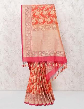Pretty peach banarasi semi silk saree